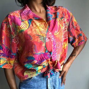 Vintage Ann May 100% silk blouse